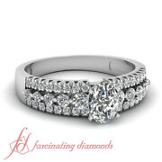 .90 Ct Three Row Pave Set Diamond Rings For Women Engagement With Oval Shaped