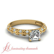 Knife Edge Pave Set Diamond Rings With 3/4 Ct Asscher And Round Side Stones Gia
