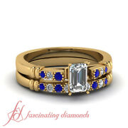 3/4 Carat Emerald Cut Diamond And Blue Sapphire Cathedral Engagement Rings Set Gia