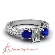 Three Stone Engagement Ring 1.25 Ct Emerald Cut F-color Diamond And Blue Sapphire