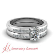 Princess Diamond Wedding Rings Channel Set With Cushion Cut In Center 0.85 Ct