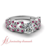 .80 Ct Round Cut Diamond And Pink Sapphire Linked Heart Engagement Ring Pave Set