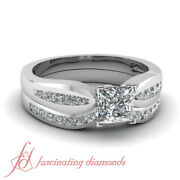 .80 Ct Princess Very Good Cut Diamond Bow Style Bridal Rings Channel Set Si1 Gia