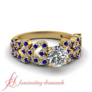1 Carat Round Cut Diamond And Sapphire Graduated Heart Style Engagement Ring Gia
