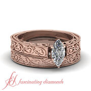1/2 Carat Marquise Cut Diamond Hand Engraved Solitaire Wedding Set In Rose Gold