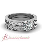 1/2 Ct Oval Shaped Diamond Solitaire Chain Style Wedding Rings Set With Milgrain