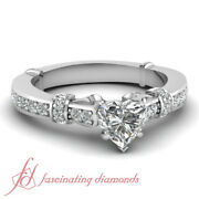 3/4 Carat Heart Shaped Antique High Set Pave Diamond Engagement Ring For Women
