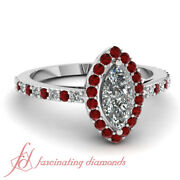 .90 Ct Marquise Cut Diamond And Ruby Halo Style Pave Set Engagement Rings Women