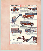1929 Paper Ad 2 Sided Structo Toy Whippet Tank Truck Ambulance Police Patrol