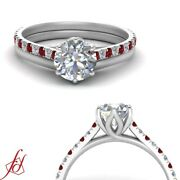 .75 Ctw Round Cut Diamond And Ruby Flower Basket Engagement Ring With Plain Band