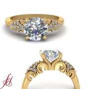 Round Cut Diamond Accented Vintage Engagement Ring In 14k Yellow Gold 0.70 Ctw