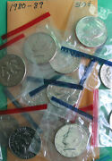 1980 - 1989 P And D Kennedy Half Dollar Set 16 Bu Coins From Us Mint Sets No 82 83