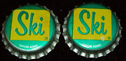 Lot Of 2 Vintage Ski Unused Soda Pop Bottle Caps Cork Lined 1960and039s Crowns