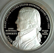 2005 Chief Justice John Marshall Proof Commemorative Silver Dollar Us Coin Only