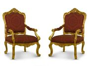 Pair Of Vintage French Gold Leaf Maroon Embroidered Silkhand Carved Armchair