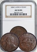 South Africa 1894 Penny Ngc Au-58 Bn