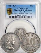 Malaya And British Borneo 1957-kn 10 Cents Pcgs Sp-62 - Extremely Rare Proof