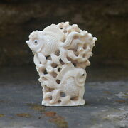 Fishes Group Carved 88x76mm In Deer Antler Bali Carving St415