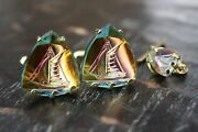 Vtg Swank Etched Multi Color Glass Sail Boat Sailing Cufflinks Tie Tack Box Set