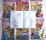 12 Disney Princesses Coloring Book And Crayon Child Party Favor Bag Filler Supply