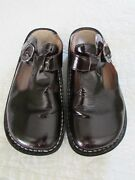 Alegria Alg-a4 Dark Marroon Shiny Patent Leather Classic Clogs Shoes 37 Us 7 7.5