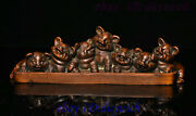 China Boxwood Wood Carved Lucky Zodiac Pig Statue Study Tool Pen Rack Penholder