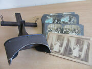 Estate Lot - Antique Wooden Stereoscope Viewer With 29 Cards, Many In Series