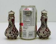 Gorham Whiting Sterling Silver Blown In Ruby Glass Salt And Pepper Shaker 3655