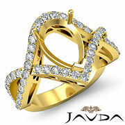 Diamond Engagement Ring Pear Semi Mount 14k Yellow Gold Twisted Shank 0.74ct