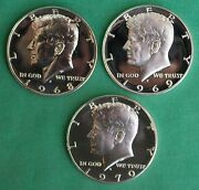 1968 1969 1970 S Proof Kennedy Half Dollar 3 Coin Lot 40 Silver 50 Cents Coins