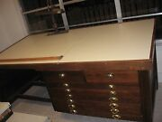 Antique Oak Architects Drawing Desk And Chair Artist Drafting Flat Map Drawers