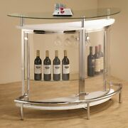 Half Moon White Bar Unit Tempered Glass Table Contemporary Wine Beverage Drink