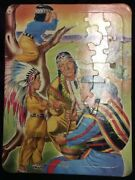 Vintage Frame Tray Puzzle Girl With Indians Family Saalfield - 7019 14x11