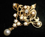 Antique 14k Yellow Gold Diamond And Pearls Lavalier-style Pendant/brooch