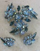 Vintage Sherman Signed Brooch And Earring Set Ab Rhinestone Silver Gorgeous