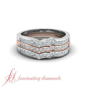 1/2 Carat Round Cut Diamond Two Tone Stackable Band Ring 14k White And Rose Gold