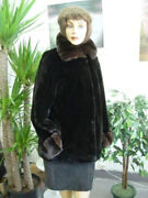 Brand New Sheared Beaver Fur Jacket Coat W/ Brown Ranched Chinchilla Women Szall
