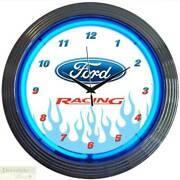 Ford Racing Auto Motor 15 Neon Wall Clock Glass Face Chrome Plate Warranty New