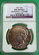 1927 Silver Unc Peace Dollar United States Coin Ngc Improperly Cleaned