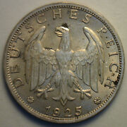 1925 A German Silver 1 Mark Coin Almost Uncirculated Reichsmark