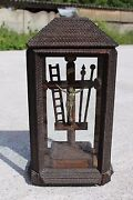 Antique Wooden Tramp Art Cross Crucifix In Glass Dome With Lid 24 H 657