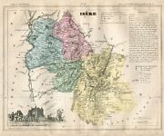 Genuine Original Antique 1877 France Hand Colored Map Isere French Europe