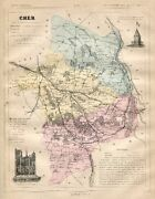 Genuine Original Antique 1877 France Hand Colored Map Cher French Europe
