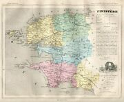 Genuine Original Antique 1877 France Hand Colored Map Finistere French Europe