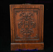 16 Old Chinese Huanghuali Wood Wealth Bat Dragon Statue Jewelry Casket Boxes Box