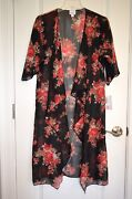 Nwt Lularoe Small Shirley Kimono Black With Red Pink Cabbage Roses Floral