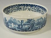 Villeroy And Boch Mettlach Germany Blue Castle 7 3/8 Serving Bowl Euc