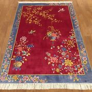 Yilong 4and039x6and039 Chinese Art Deco Handmade Silk Carpet Family Room Area Rug