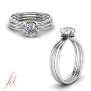 3/4 Carat Round Cut White And Black Diamond Under Halo Engagement Ring For Women