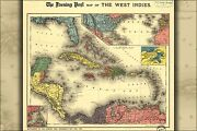 Poster, Many Sizes Map Of West Indies Florida Cuba Jamaica 1898
